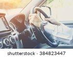 driving car   steering wheel of ... | Shutterstock . vector #384823447