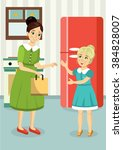 mom and daughter kitchen room... | Shutterstock .eps vector #384828007