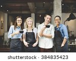 cafeteria barista cafe... | Shutterstock . vector #384835423