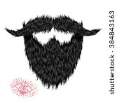 hairy curly hipster strong... | Shutterstock .eps vector #384843163