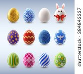 set of decorated easter eggs ... | Shutterstock .eps vector #384843337