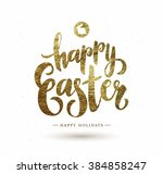easter postcard with gold foil  ... | Shutterstock .eps vector #384858247