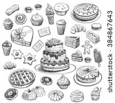 collection of hand drawing... | Shutterstock .eps vector #384867643