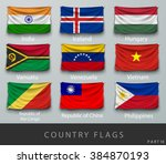 wave country flag with shadows... | Shutterstock .eps vector #384870193