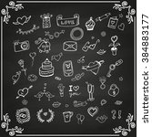 set of love doodle icon set... | Shutterstock . vector #384883177