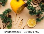 yellow set of lemon and... | Shutterstock . vector #384891757
