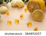 yellow set of sliced lemon ... | Shutterstock . vector #384892057