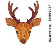 ethnic deer head in zentangle... | Shutterstock .eps vector #384898087