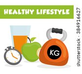 healthy lifestyle design  | Shutterstock .eps vector #384916627