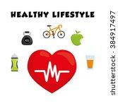 healthy lifestyle design  | Shutterstock .eps vector #384917497