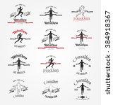 hand drawn marathon logotypes ... | Shutterstock .eps vector #384918367
