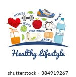 healthy lifestyle design  | Shutterstock .eps vector #384919267