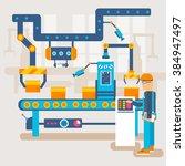 robotic machines process vector ... | Shutterstock .eps vector #384947497