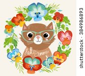 Stock vector cute cat with glasses in a flower wreath hello summer vector illustration fashion baby retro 384986893