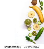 green smoothies and ingredients ... | Shutterstock . vector #384987067