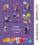 romantic happy valentine day... | Shutterstock . vector #384991153
