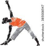 woman posture yoga 3 brush...   Shutterstock .eps vector #385008547