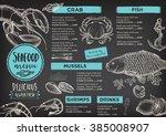 seafood restaurant brochure ... | Shutterstock .eps vector #385008907