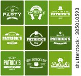 typographic saint patrick's day ... | Shutterstock .eps vector #385010593