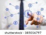 businessman pressing  virtual... | Shutterstock . vector #385016797