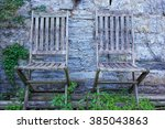 Pair Of Aged Wooden Garden...