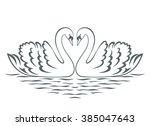 Swan Couple Silhouette. Vecto...