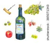 hand drawn watercolor set ...   Shutterstock . vector #385071343