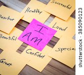 Small photo of very powerful self help concept using positive messages and a I am floating above all the positive thoughts