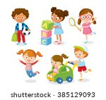 children play with toys | Shutterstock .eps vector #385129093