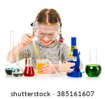 happy little girl with flasks... | Shutterstock . vector #385161607