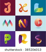 j k l m n o p r s letters set... | Shutterstock .eps vector #385206013