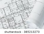 drawings  blueprints close up | Shutterstock . vector #385213273