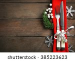 christmas serving cutlery with... | Shutterstock . vector #385223623
