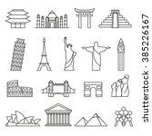 World landmarks outline icons, abstract vector set | Shutterstock vector #385226167