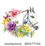 white horse in flowers.... | Shutterstock . vector #385277743