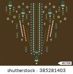 ethnic flowers neck line... | Shutterstock .eps vector #385281403