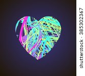 bright heart with colored lines ... | Shutterstock .eps vector #385302367