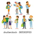 international students read the ... | Shutterstock .eps vector #385303933