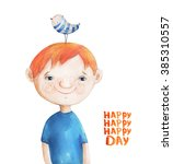 Boy With Blue Striped Bird On...