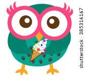 happy owl cartoon vector | Shutterstock .eps vector #385316167