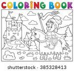 coloring book knight on horse... | Shutterstock .eps vector #385328413