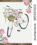 Watercolor White Bicycle With...