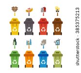 waste recycling bin set. vector ... | Shutterstock .eps vector #385375213