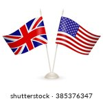 table stand with flags of... | Shutterstock .eps vector #385376347
