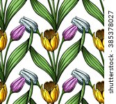 seamless pattern of tulip... | Shutterstock .eps vector #385378027