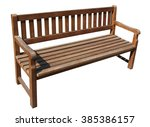 Wooden Long  Bench In Public...