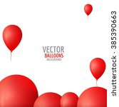 Vector Red Balloons Background.