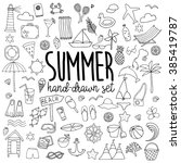 hand drawn summer symbols and... | Shutterstock .eps vector #385419787