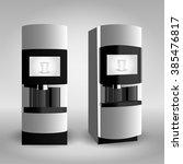 coffee vending machine on grey... | Shutterstock .eps vector #385476817