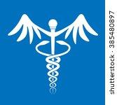 caduceus on blue background | Shutterstock .eps vector #385480897